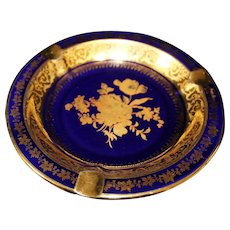 Porcelain Ash Tray - Floral Design - In Blue & Gold From Limoges