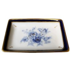 Porcelain Small Rectangular Dish - Blue Floral - In Blue & White From Limoges