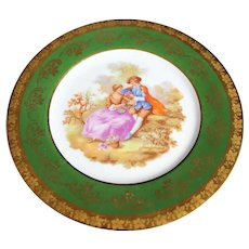 Porcelain 16cm Decor Plate - The Lovers - In Green From Limoges
