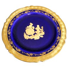 Porcelain 11cm Miniature Plate - The Proposal - In Blue & Gold From Limoges