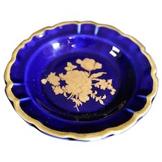 Porcelain 11cm Miniature Dish - Floral - In Blue & Gold From Limoges