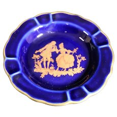 Porcelain 11cm Miniature Dish - Dance Proposal - In Blue & Gold From Limoges