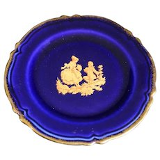Porcelain 11cm Miniature Plate - Proposal - In Blue & Gold From Limoges