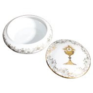Porcelain Covered Box - Holy Eucharist - In White & Gold From Limoges