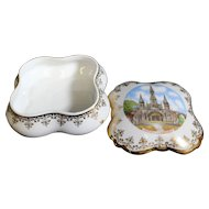 Porcelain Covered Box - Lourdes - In White & Gold From Limoges