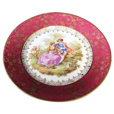 Porcelain 16cm Decor Plate - Embracing Couple - In Red From Limoges