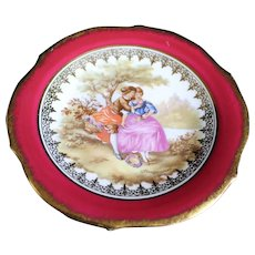 Porcelain 13cm Miniature Plate - The Kiss - In Red From Limoges