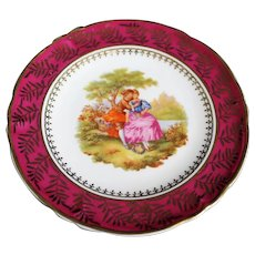 Porcelain 13cm Miniature Plate - Serenading - In Red From Limoges