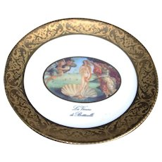 Porcelain 12cm Miniature Plate - Botticelli - In Gold From Limoges