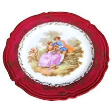Porcelain 11cm Miniature Plate - Courting - In Classic Limoges Red & Gold