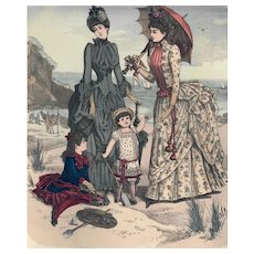French Fashion Print # 620 La Saison - Journal Illustré des Dames - Aug 1885