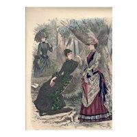French Fashion Print # 622 La Saison Journal Illustré des Dames - Sept 1885