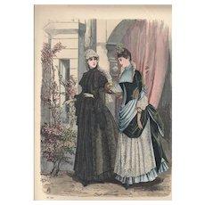 French Fashion Print # 624 La Saison - Journal Illustré des Dames - Oct 1885
