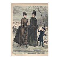 French Fashion Print # 630 La Saison - Journal Illustré des Dames - Dec 1885