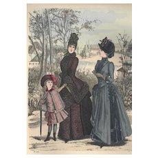 French Fashion Print # 605 La Saison - Journal Illustré des Dames - Mar 1885