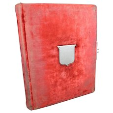 Aged Red Photo Album of Mostly Old French Portraits - Various Photographers
