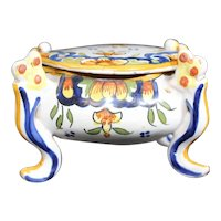 Covered Four Footed Ceramic Box - Colorful