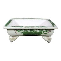 Asian Four Footed Ceramic Antique Celadon Trough Bowl