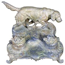 Hunting Dog Metal Double Inkwells