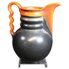 Louis Regout - Mosa Colorful Ceramic Jug or Vase With Wavy Handle.