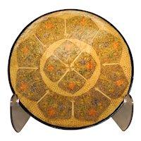 Gold & Burnt Orange Geometric Design Plate - Papier-Mache