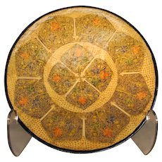 Gold & Burnt Orange Geometric Design Plate - Papier-Mache