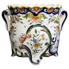 Mont St Michel Decorated Scalloped Two Handled French Ceramic Cache Pot