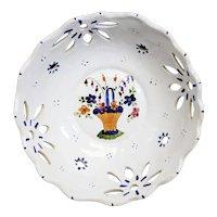 Pierced Rouen Failt-Main Ceramic Decorated Bowl Atop a Metal Mount