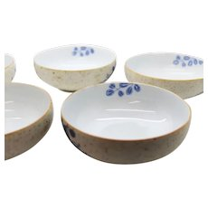 Matching Set of 5 Delicate Chinese Bowls With Blue Leaf Design
