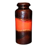 Red & Dark Brown Two Tone Tall Vase From Scheurich W. Germany