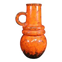 Drip Glazed Orange - Red Brown Handled Vase From Scheurich W. Germany