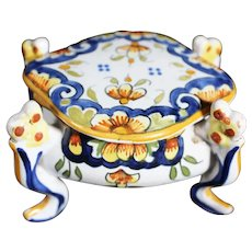 Rouen Style Covered Four Footed French Ceramic Box - Colorful