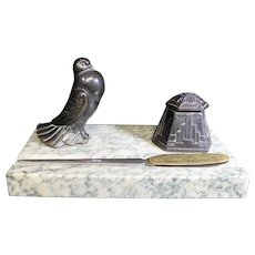 Art Themed Inkwell & Letter Opener Decorated with a Fine Bird