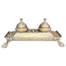 Engraved - Inkwell - Large Brass Double Reservoir Inkwell & Pen Trays