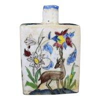 Beautiful Ceramic IZNIK Bottle With Artisanal Painting Of Floral Scenes