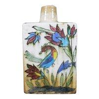 Beautiful Ceramic IZNIK Bottle With Artisanal Painting Of Bird of Paradise.