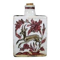 Beautiful Ceramic IZNIK Bottle With Artisanal Painting Of A Deer.