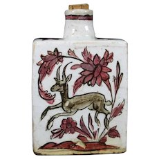 Beautiful Ceramic IZNIK Bottle With Artisanal Painting Of A Deer.
