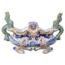Rare - George Martel, Desvres - Decorated Footed Dragon Bowl - Ceramic