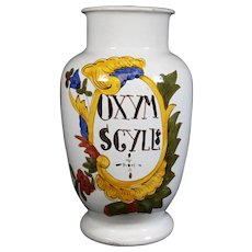 "Pharmacy Jar From Closed Pharmacy - Inscribed ""OXYM SGYLL"" - 27cm Tall"