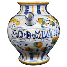 "Pharmacy Jar From Closed Pharmacy - Inscribed ""AQ DE MALVA"""