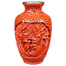 Small Floral Design Carved Cinnabar Vase - 10.5cm
