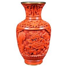 Small Floral Design Carved Cinnabar Vase - 10cm