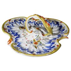 Desvres Tri-Sectioned Handled French Bowl - Ornate