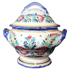 Beautiful Henriot Quimper Covered Tureen with two blue handles