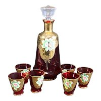 Bohemian - Liqueur Decanter and Matching Glasses