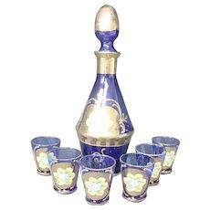 Rosolio Cobalt Blue Decanter & Set of Six Glasses - Italian - Unused