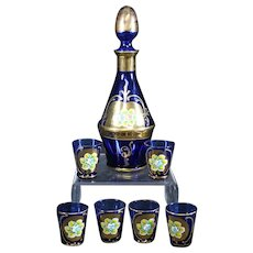 Rosolio Blue Decanter set with Six Matching Glasses