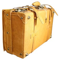 Aged Tan Color Leather Strap & Lock Suitcase Luggage - Very Clean