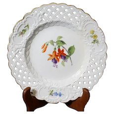 Meissen Pomp Reticulated Floral Breakthrough Porcelain Plate